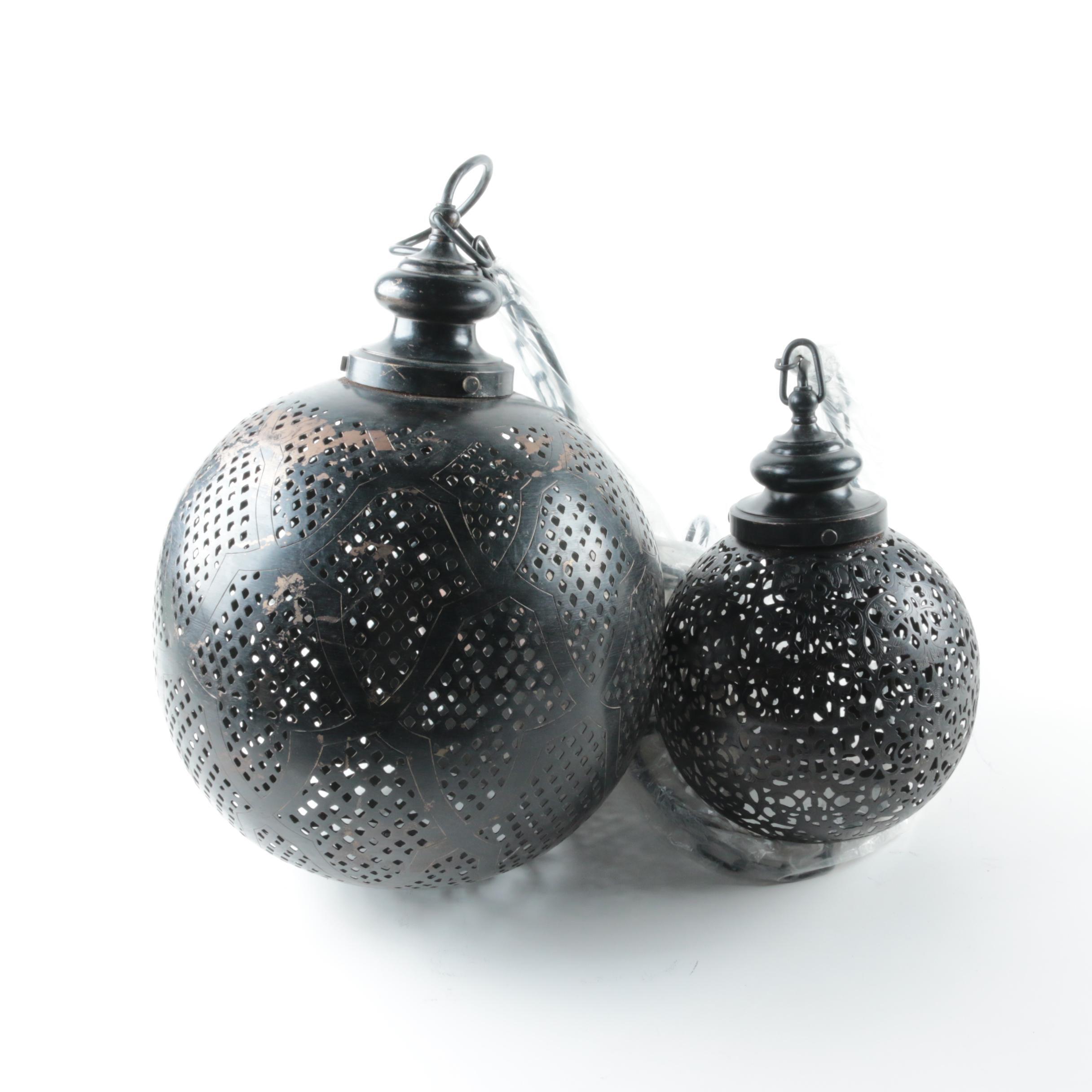 Pair of Pierced Metal Pendant Lights