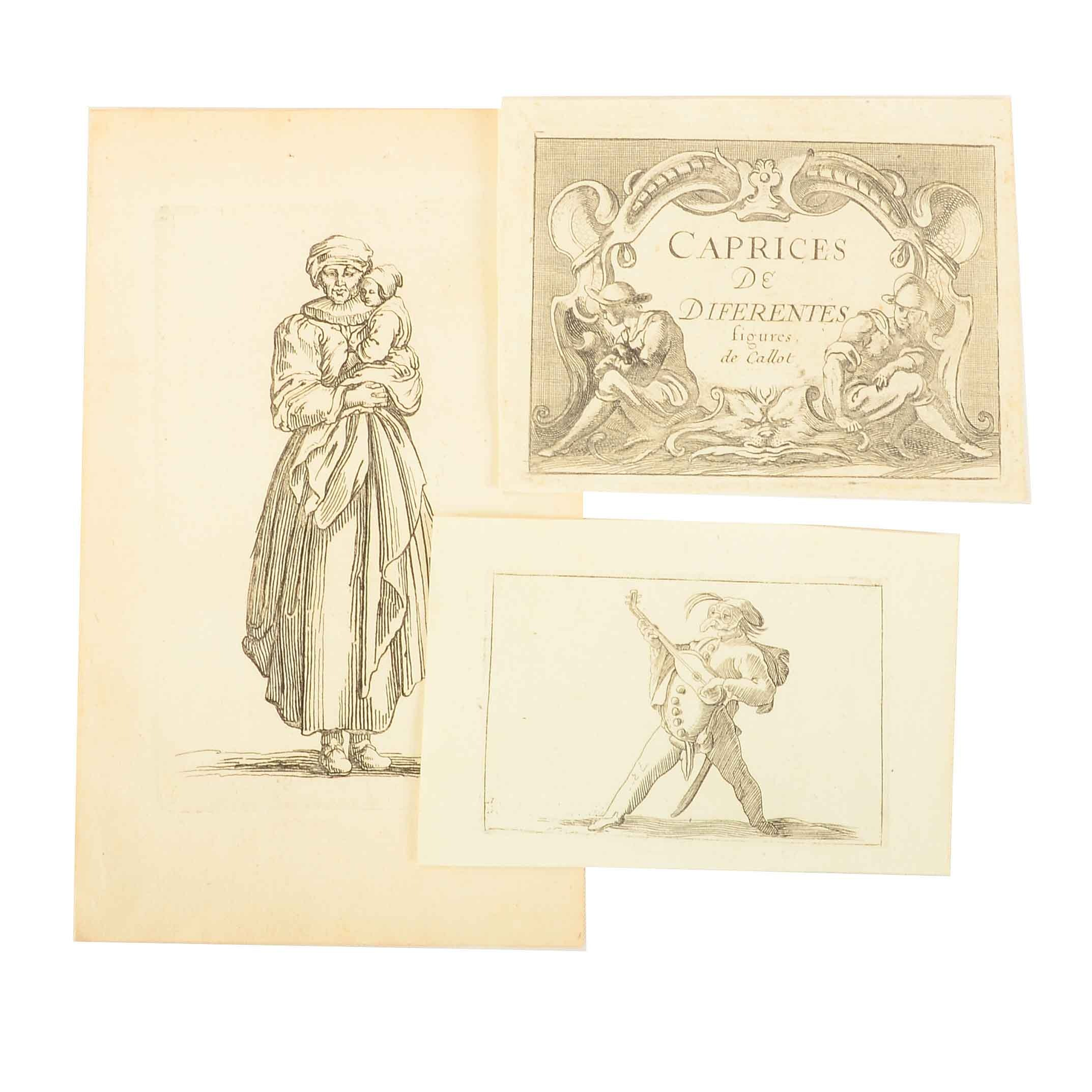 Three C. 17th Century Unframed Jacques Callot Etchings