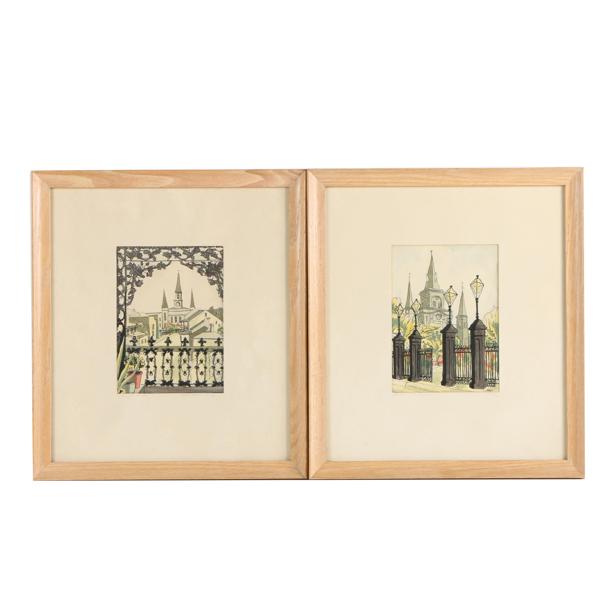 Embellished Lithographs After Louis Webb of New Orleans, Louisiana