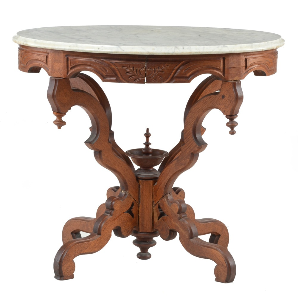 Oval Marble Top Accent Table