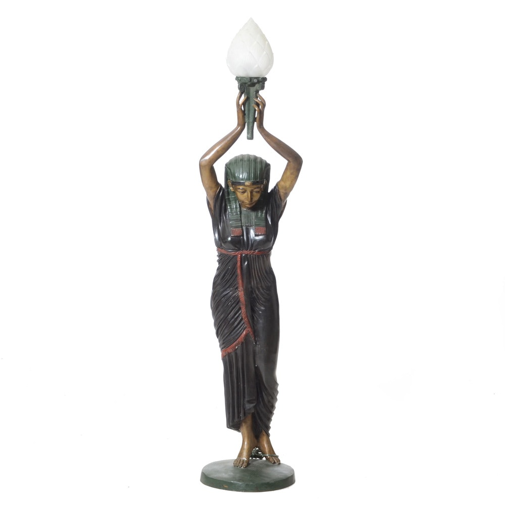 "Antique Bronze ""Egyptian"" Floor Lamp"