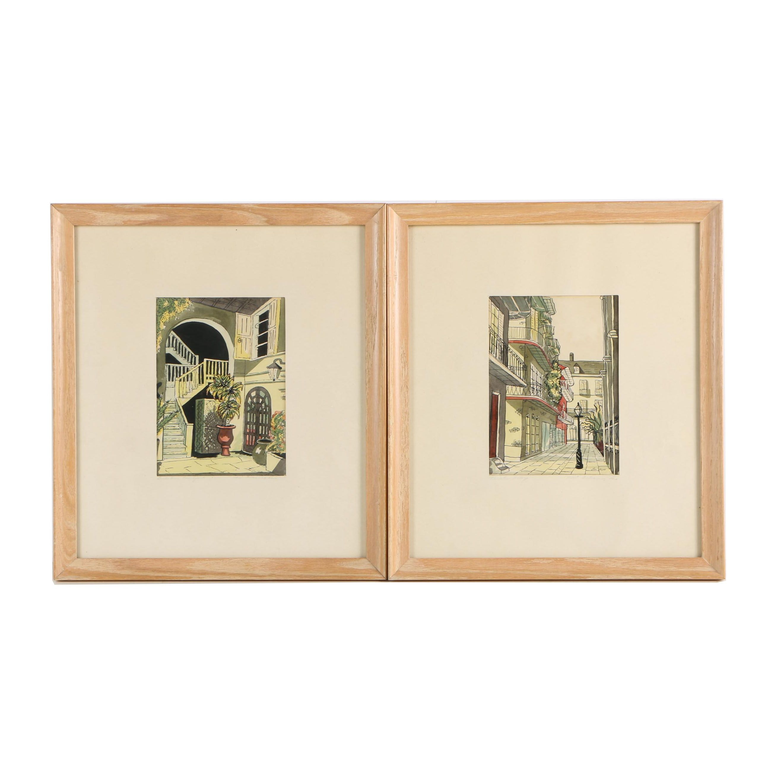 """Louise Webb Lithographs """"Pirates Alley"""" and """"Brulatour Courtyard"""""""