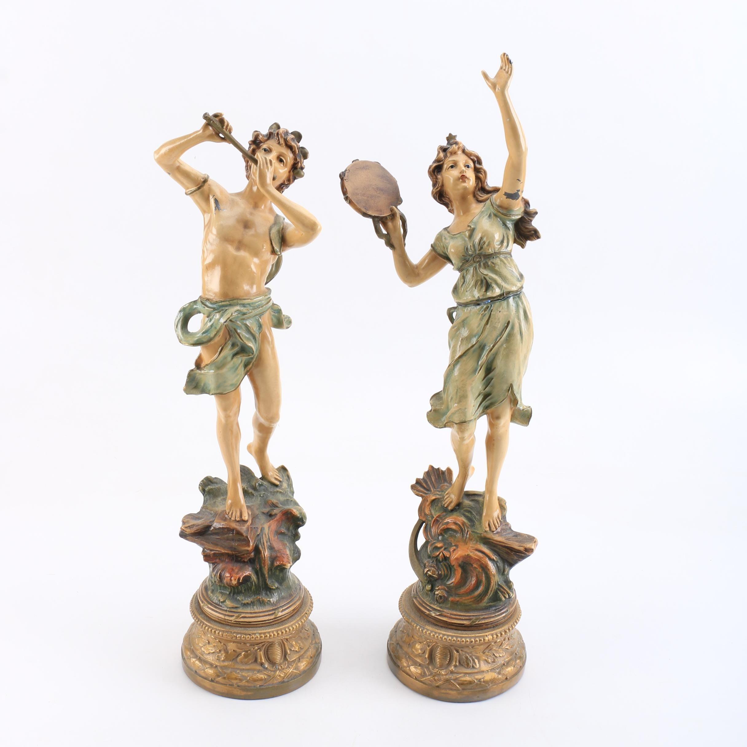 Polychrome Painted Metal Figurines of Musicians