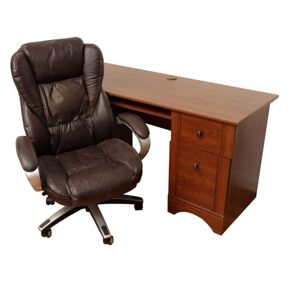 Lane Faux Leather Office Chair and Walnut-Finished Desk