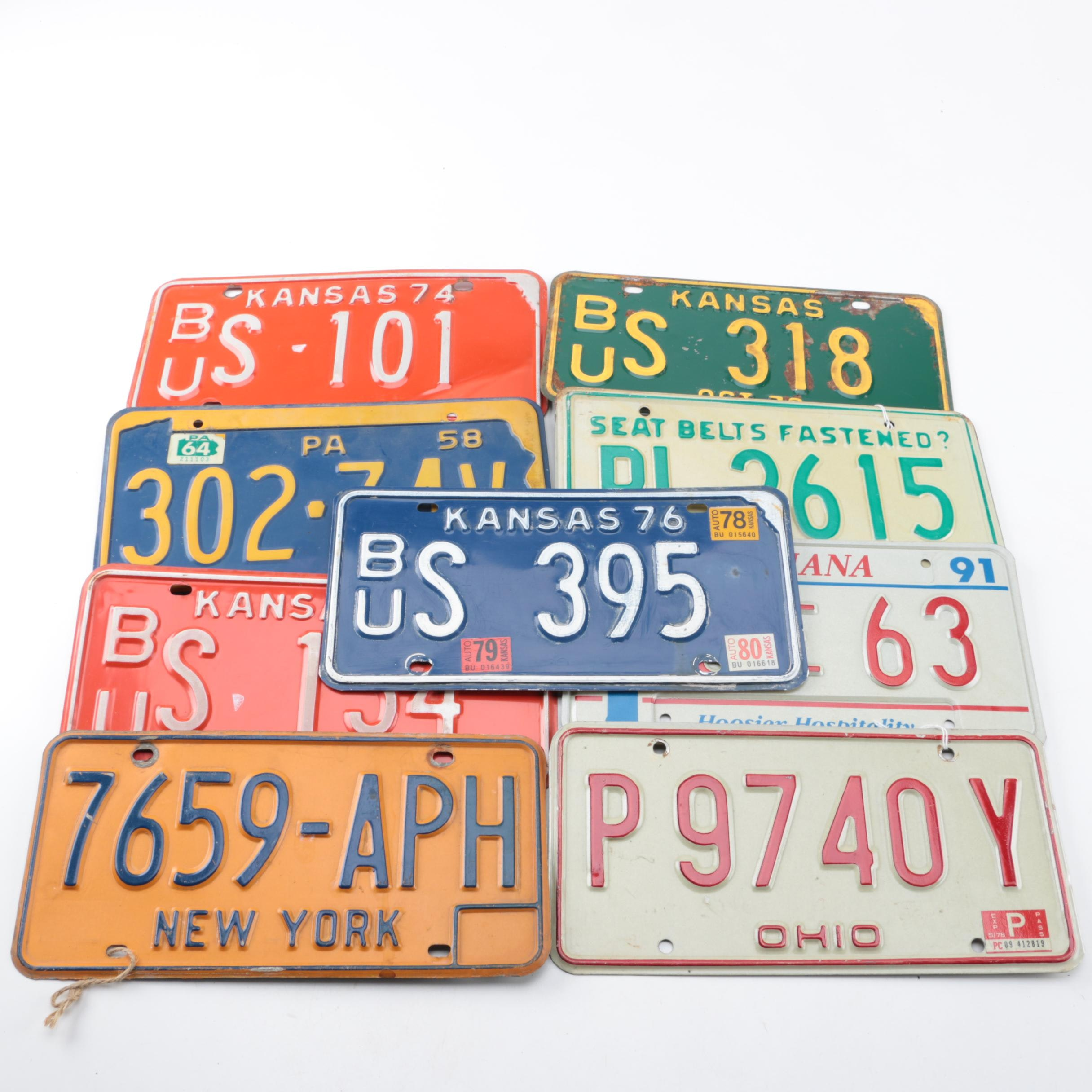 Vintage License Plates From Five States