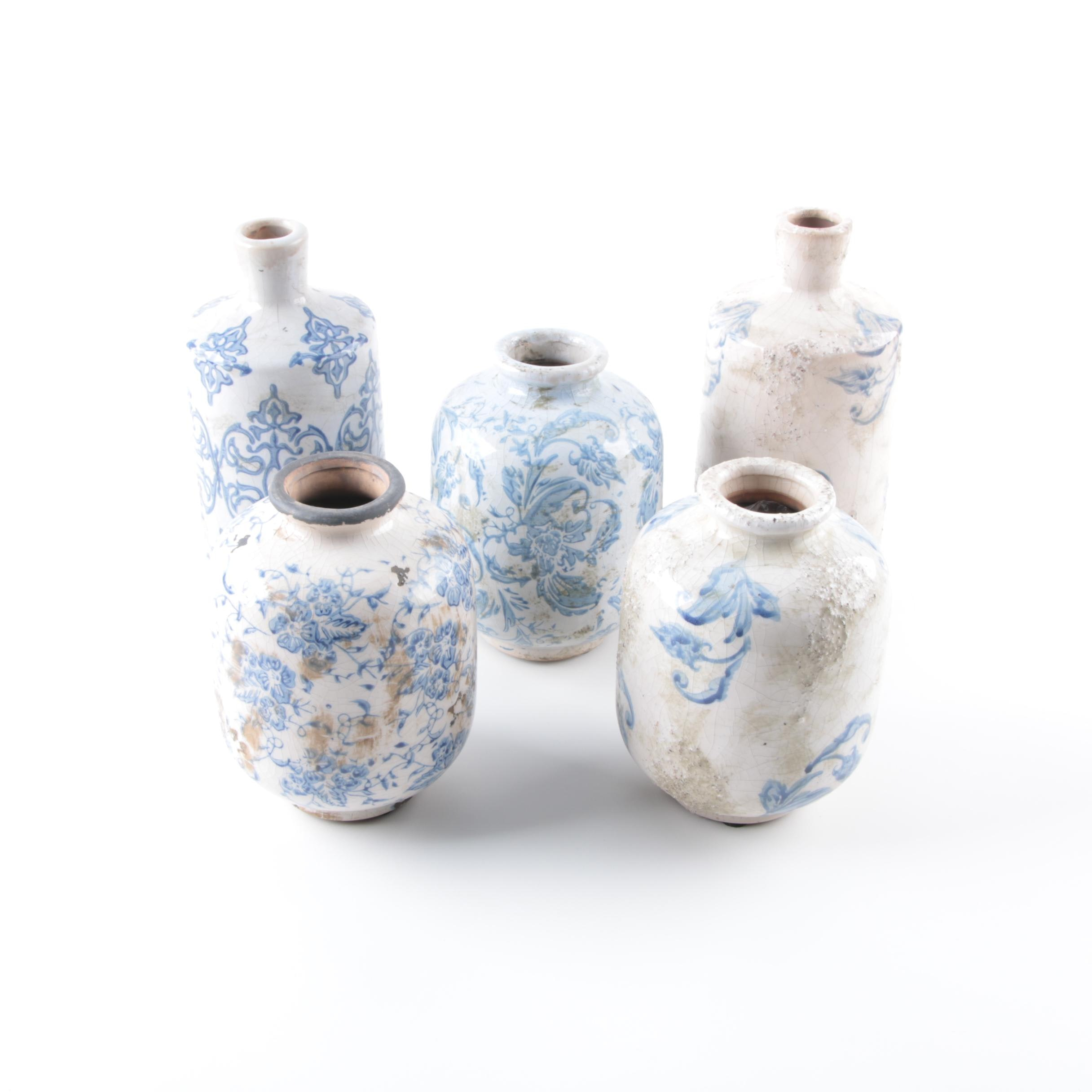 Blue and White Ceramic Jugs