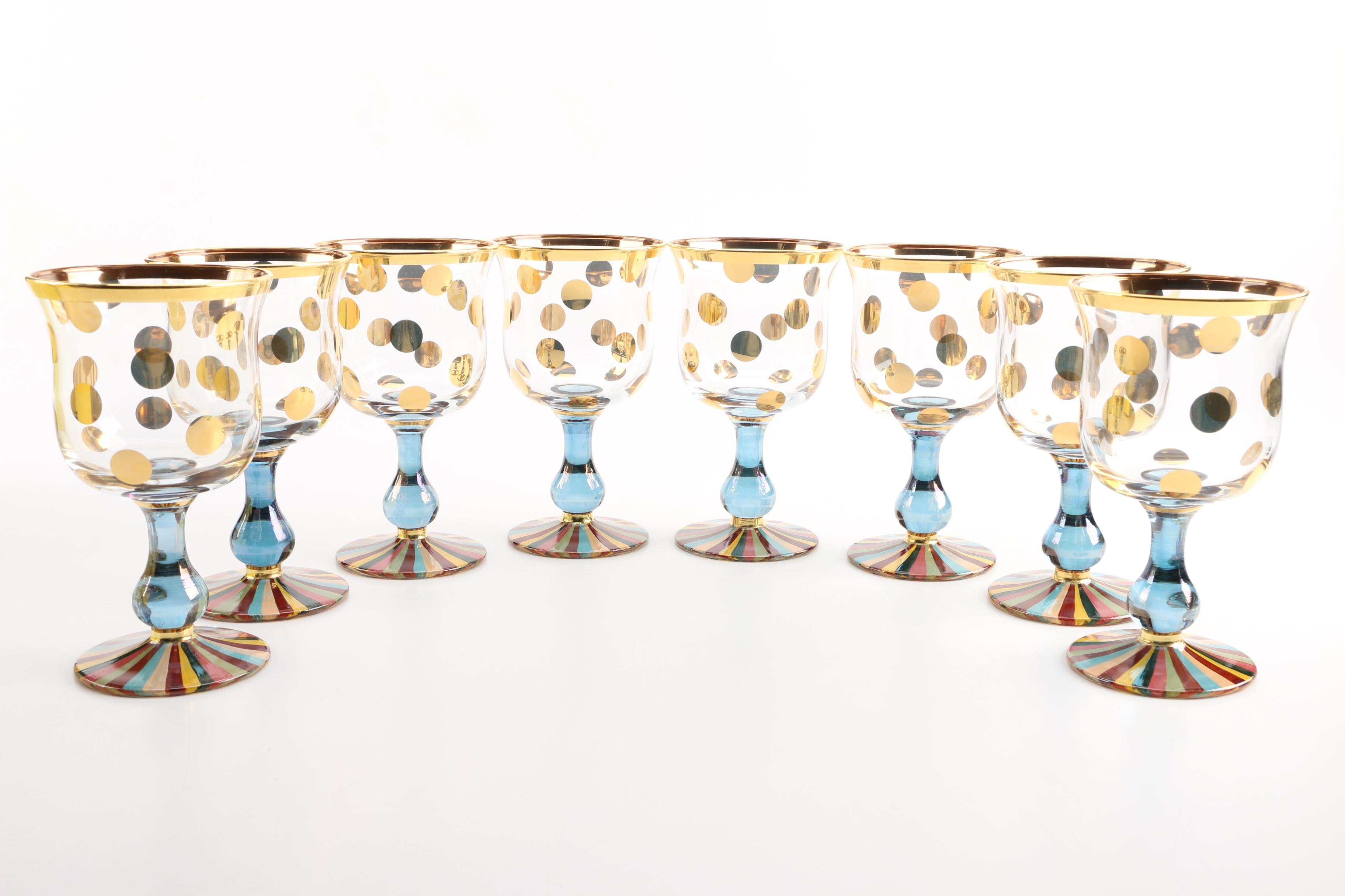 "Mackenzie-Childs ""Foxtrot"" Wine Glasses"
