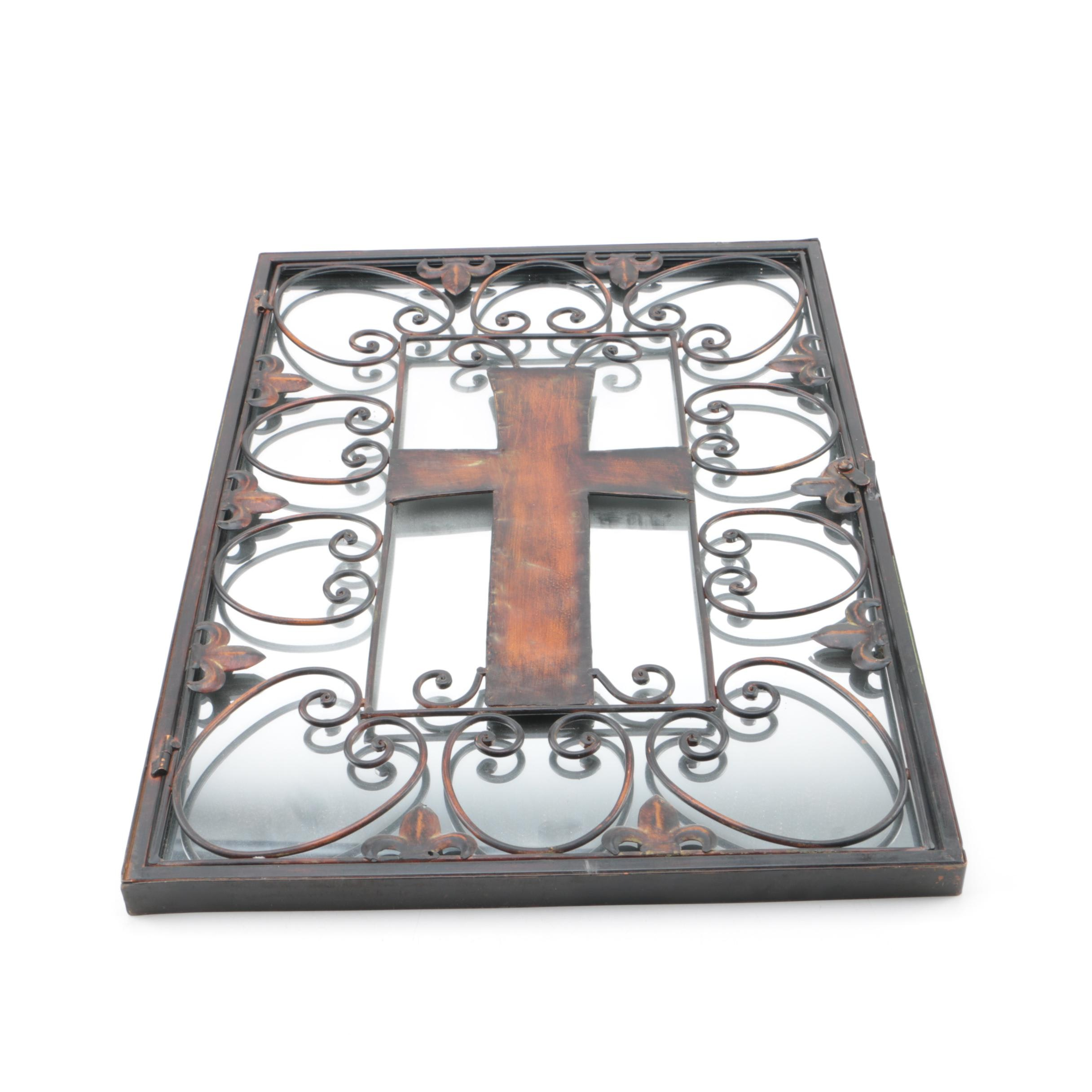 Mirror with Metal Frame and Cross Motif Panel