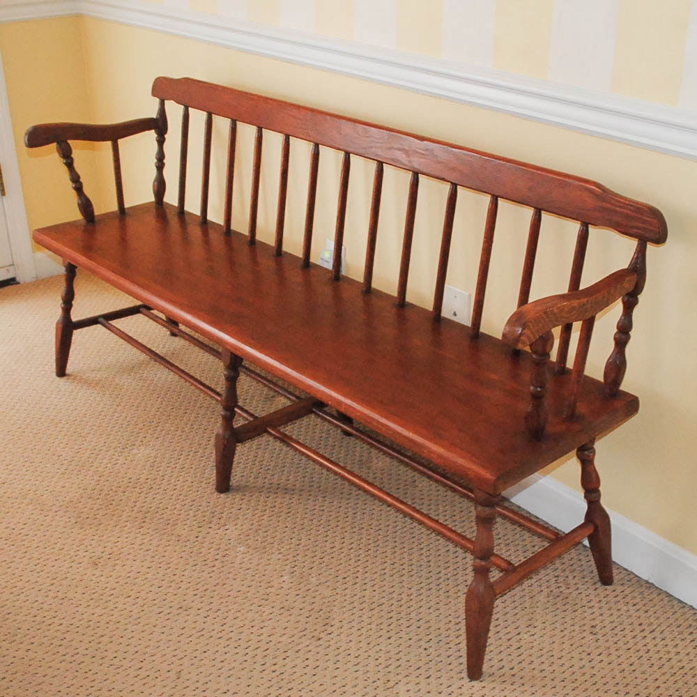 Antique Spindle Back Settle Bench