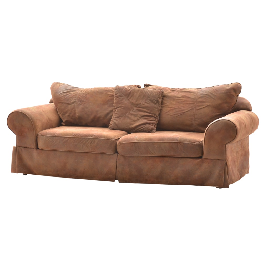 Brown Faux Suede Sofa ...