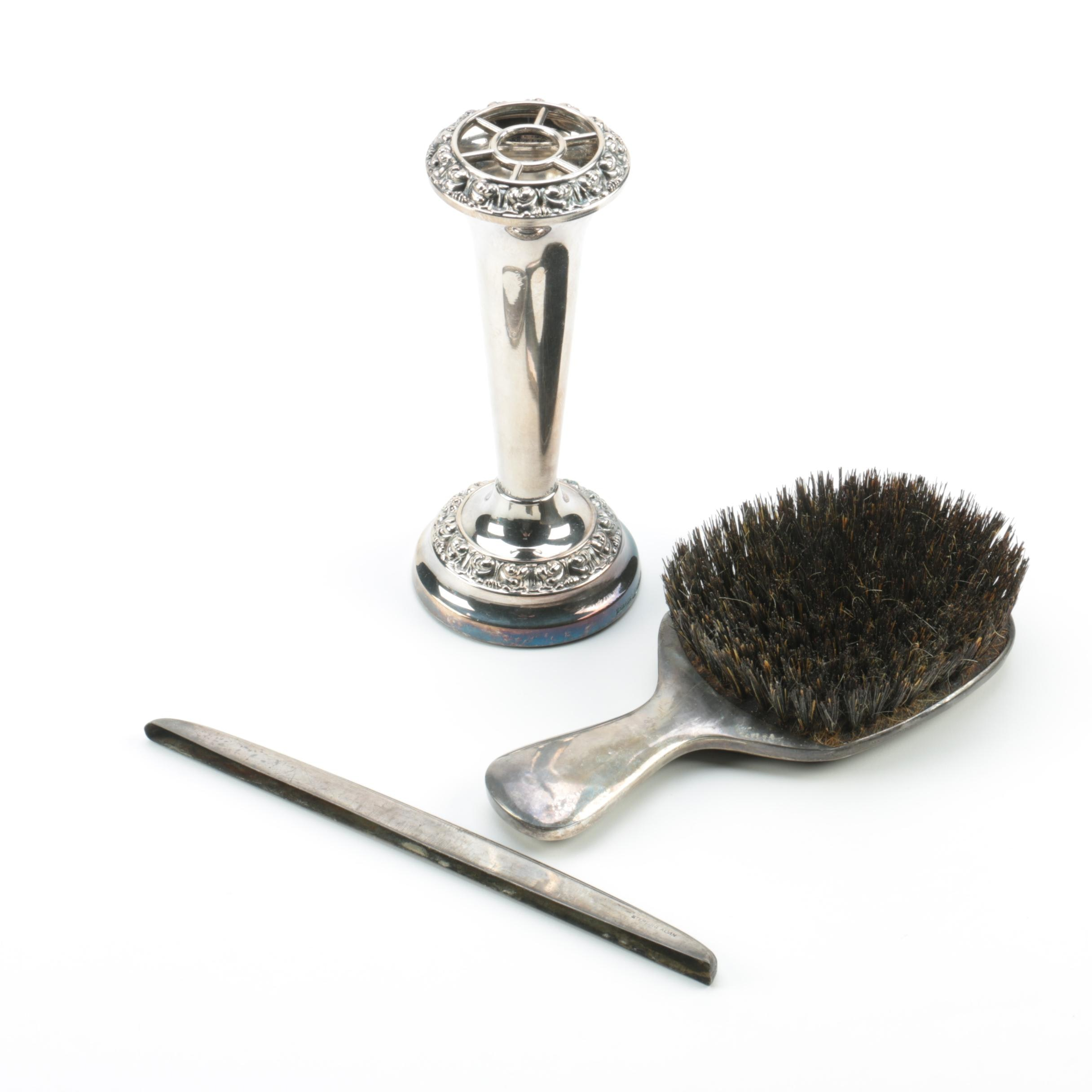 Alvin Sterling Silver Brush and Comb Handle with Ianthe Silver-Plated Vase