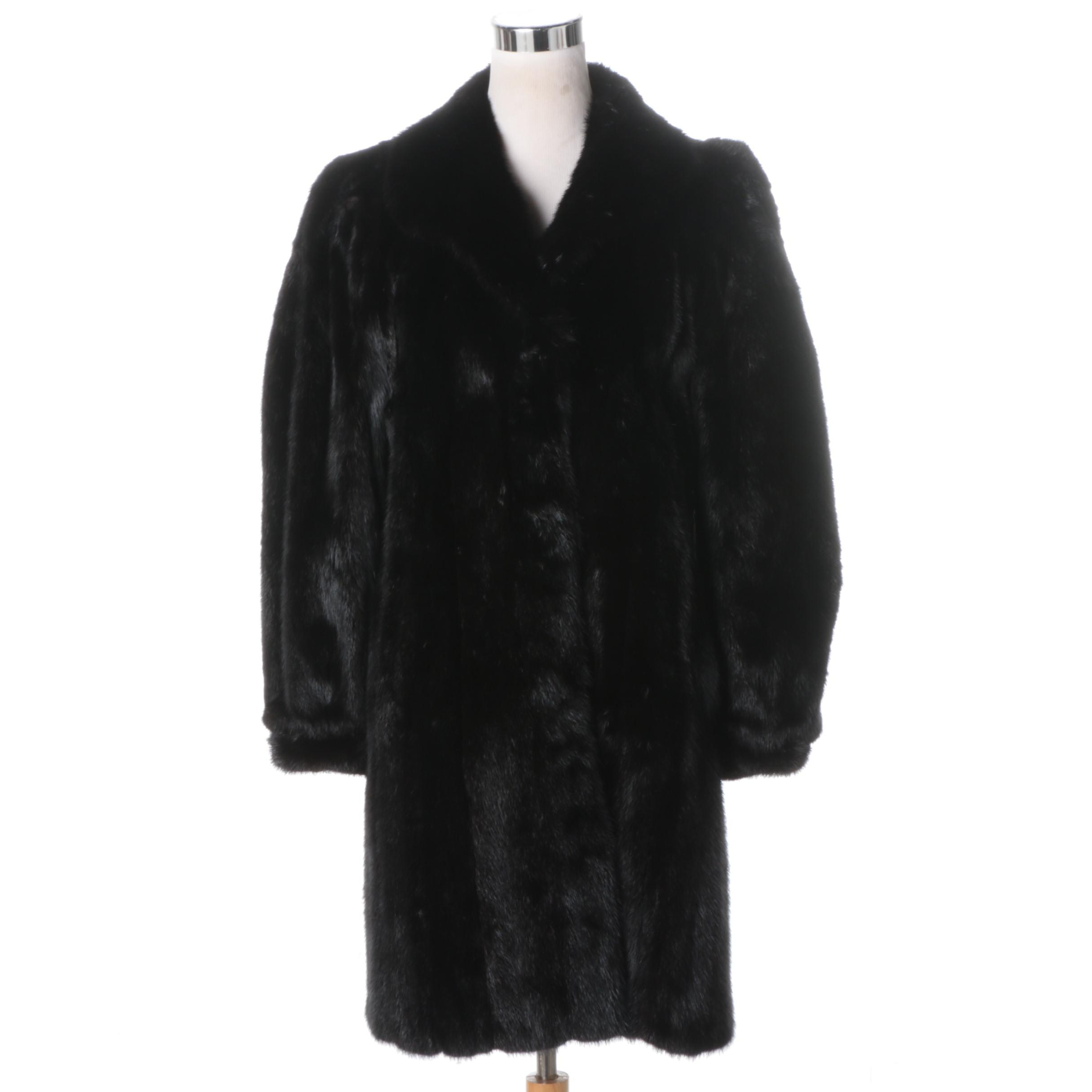 Black Mink Fur Stroller Coat