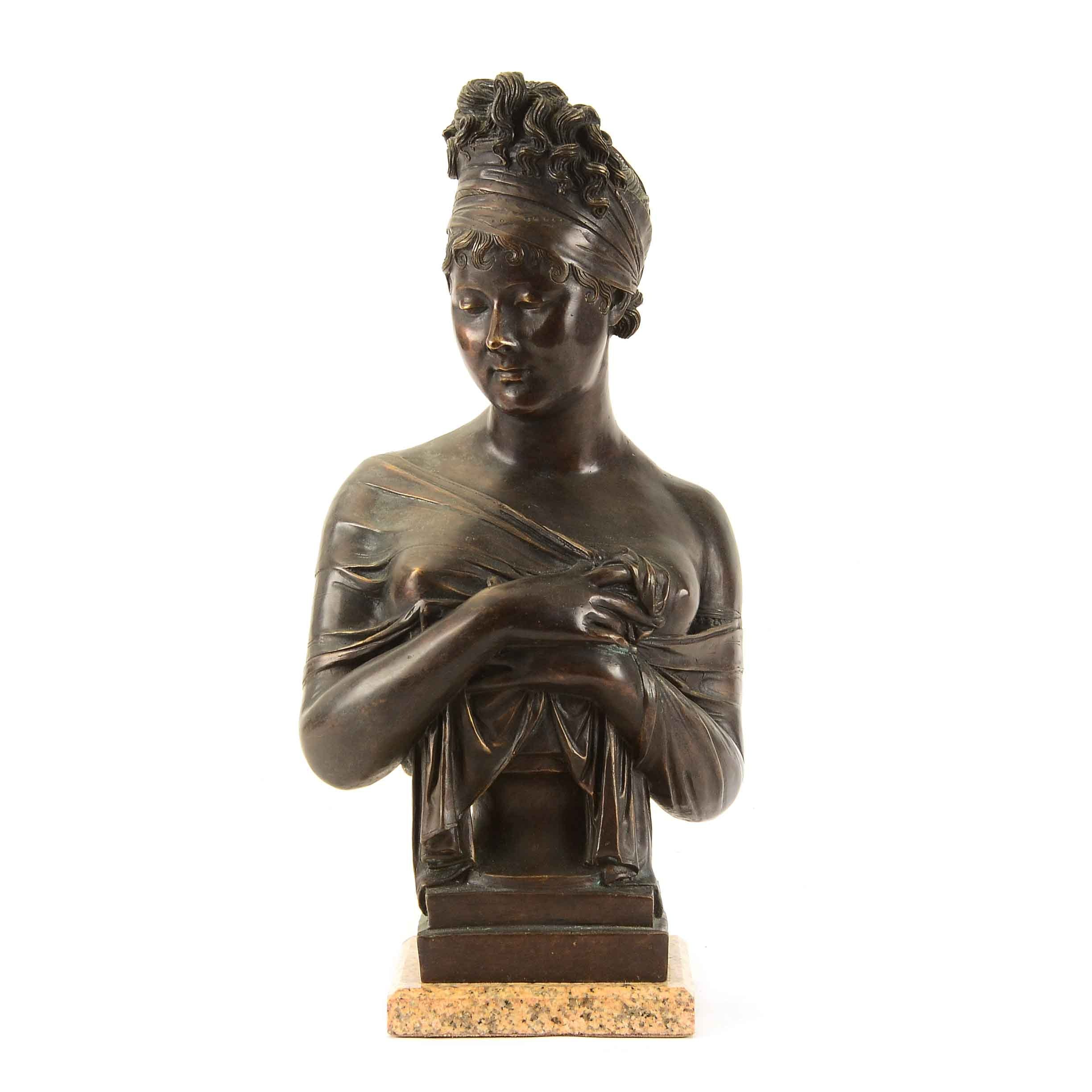 French 19th Century Bronze Bust of Madame Récamier, After Jean-Antoine Houdon