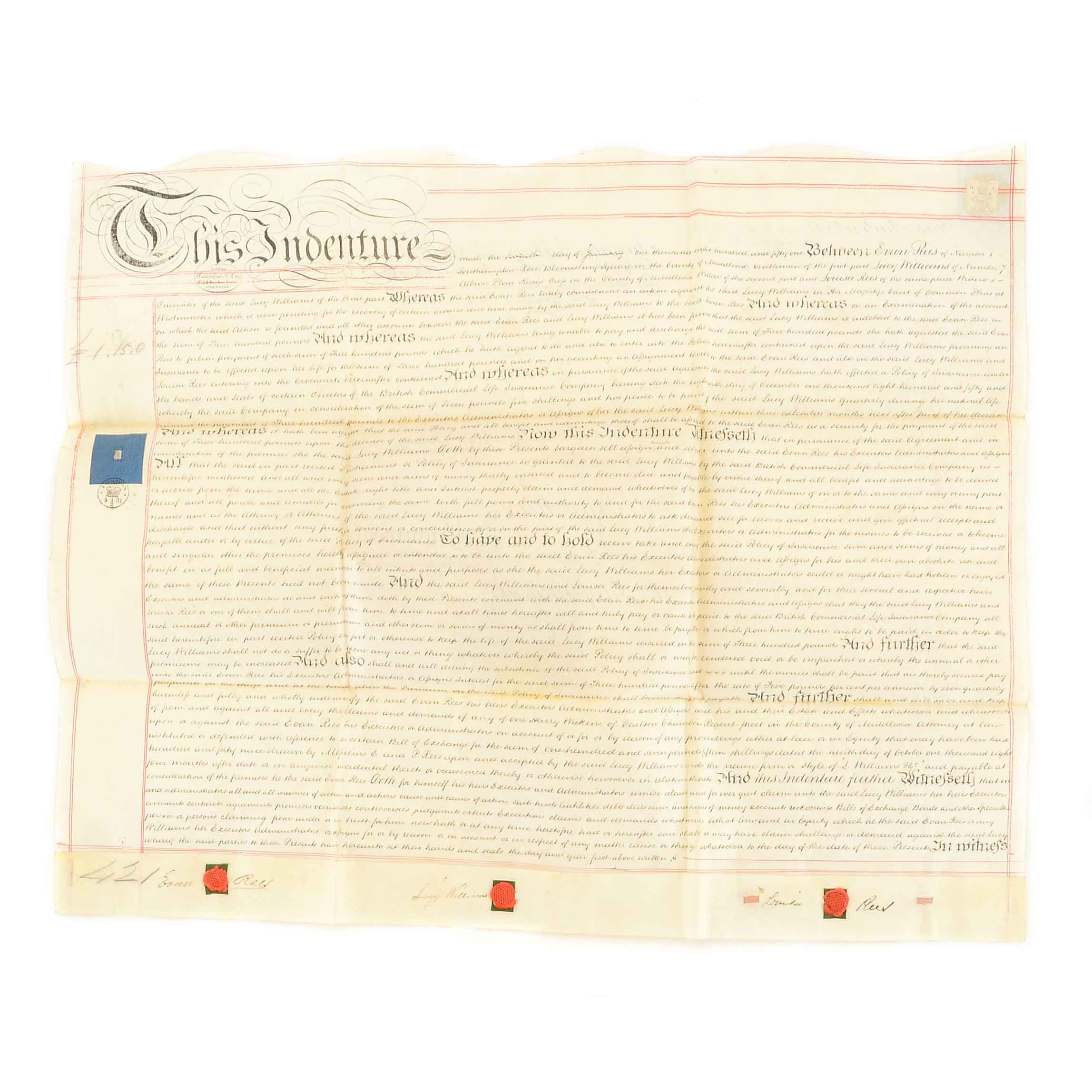 1851 Lithograph of an Indenture Document