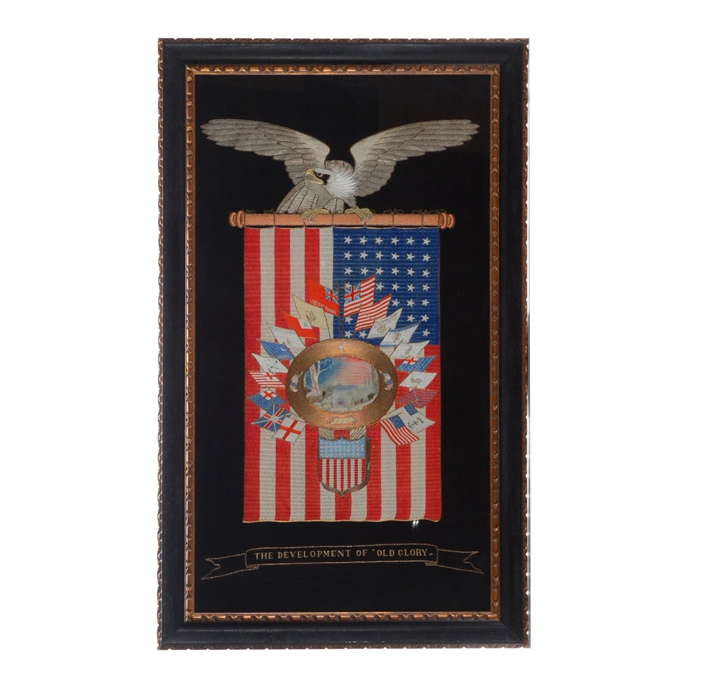 Antique Naval Embroidery Featuring an American Eagle and Flag