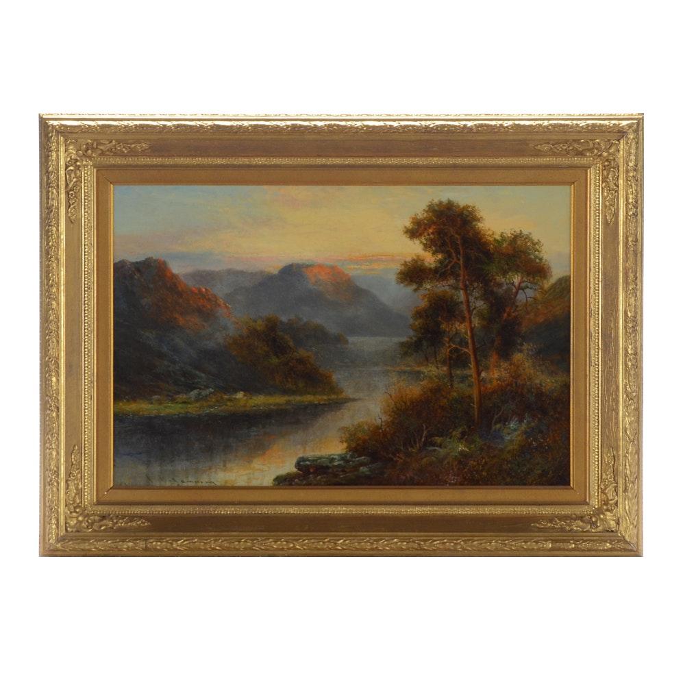 Francis E. Jamieson Vintage Oil on Canvas Landscape Painting