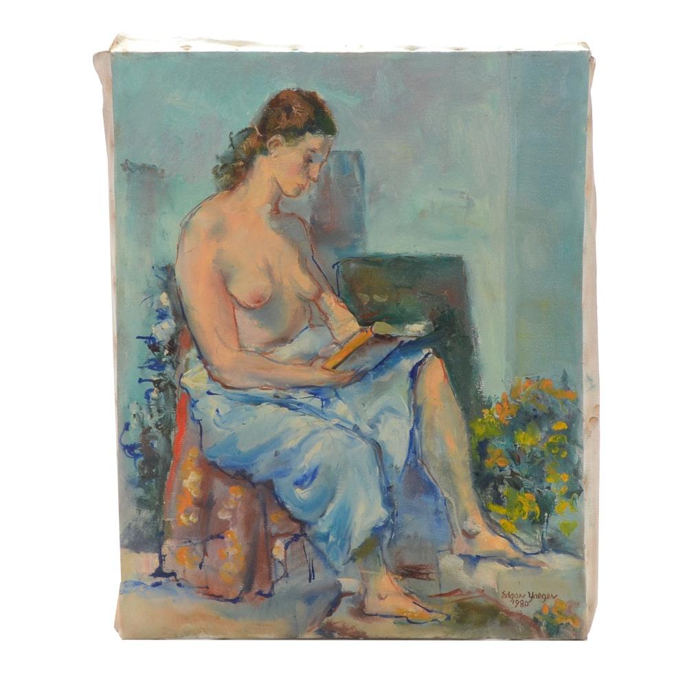 """Edgar Yaeger Oil on Canvas Figure Painting """"Nude Study"""""""