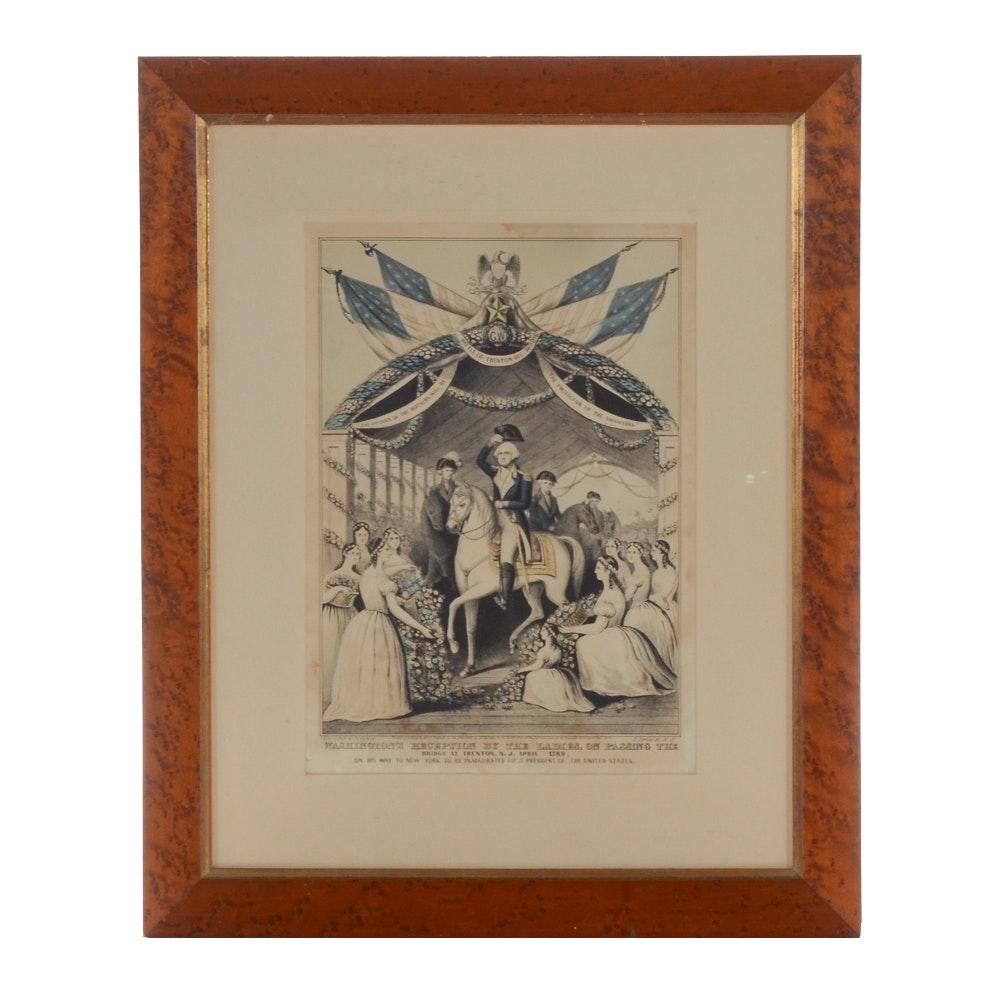 "Antique Hand-colored Lithograph ""Washington's Reception . . ."""