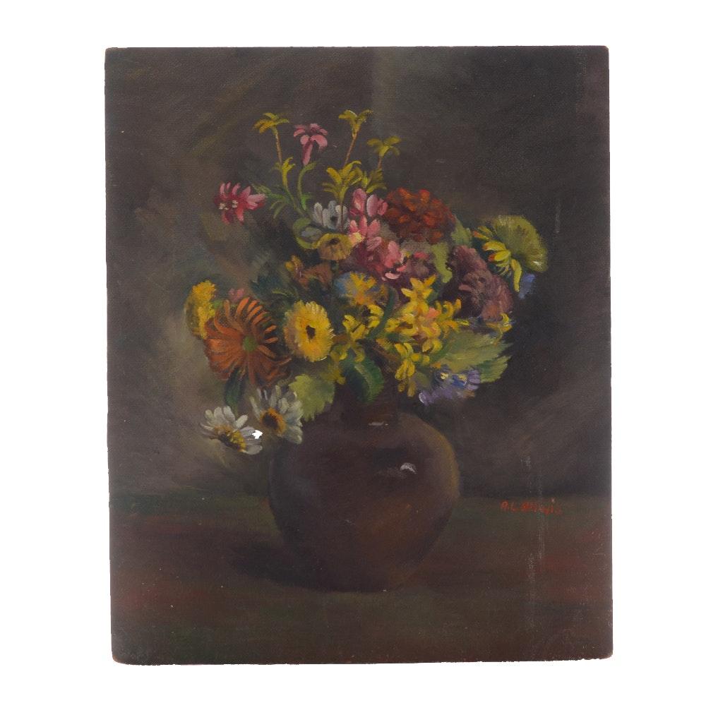 Arthur Helwig Oil on Board Floral Painting