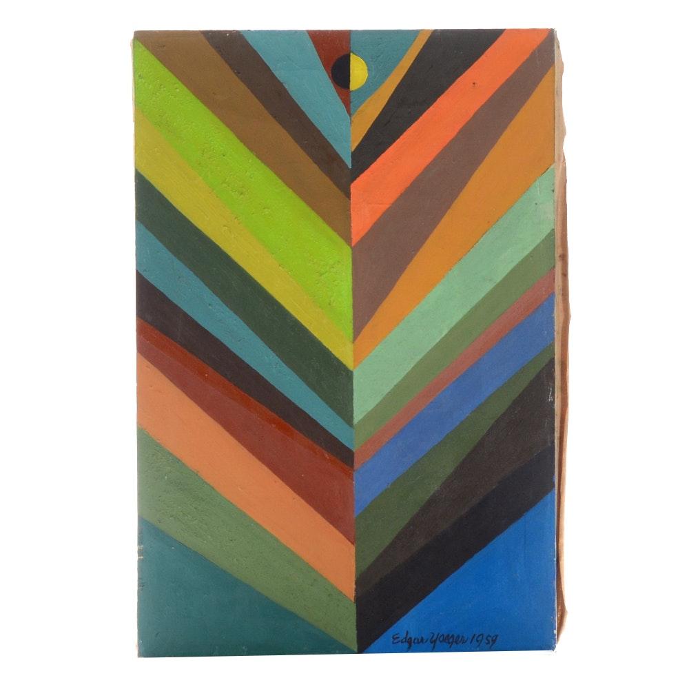 "Edgar Yaeger Vintage Oil Painting on Canvas ""Colored Stripes"""