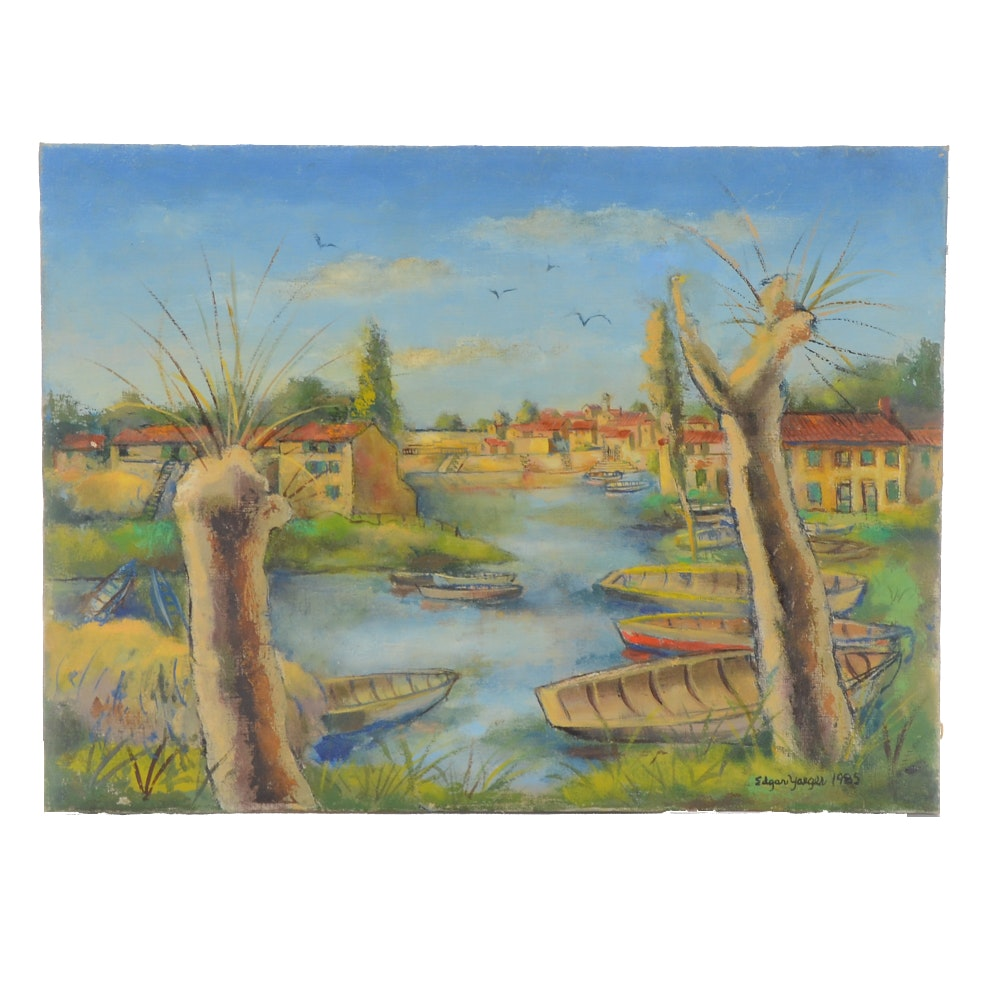 Edgar Yaeger Oil Painting on Canvas of Canal Scene