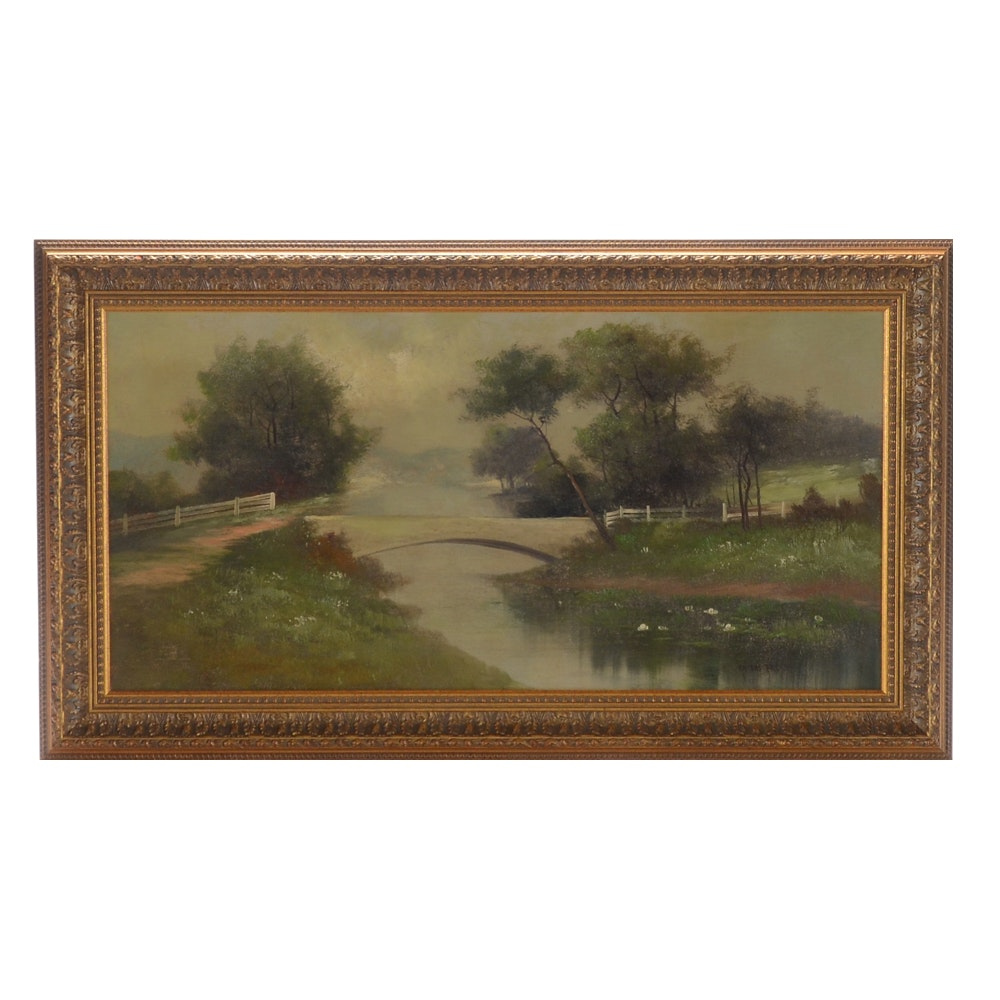 """Vintage Oil Painting on Board """"Kaisers Bridge"""""""