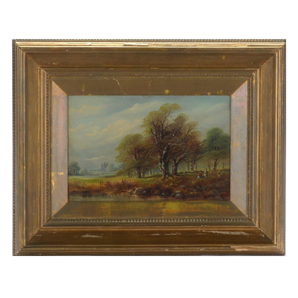 Antique Oil Painting of a Landscape