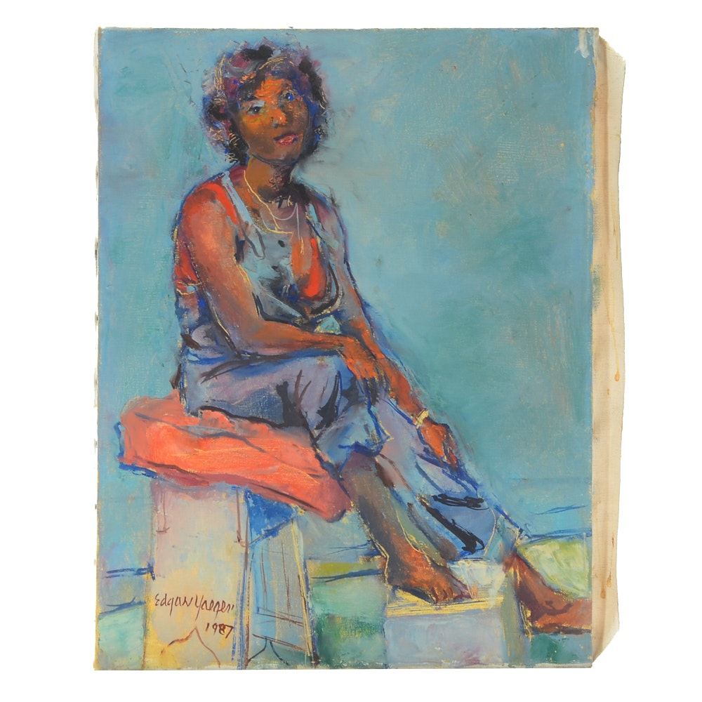 Edgar Yaeger Oil Painting of a Female Figure