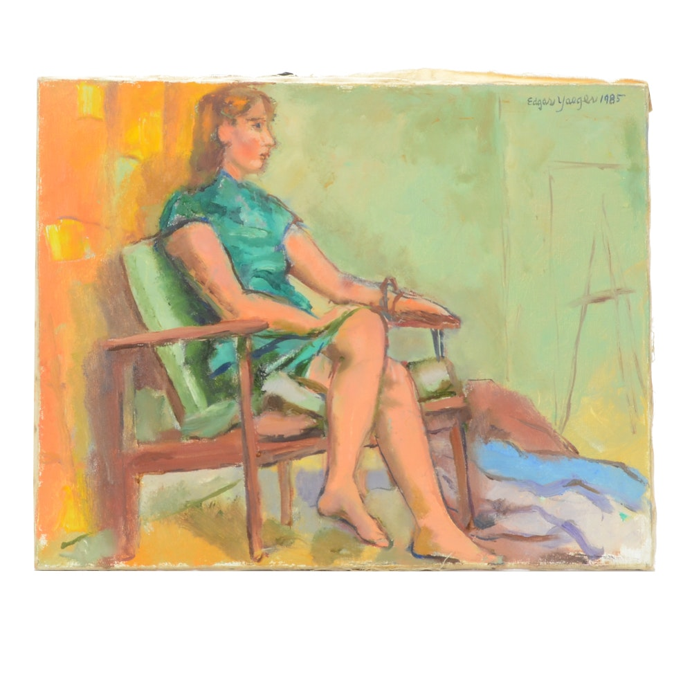 Edgar Yaeger Oil Painting of a Female Figure in Green
