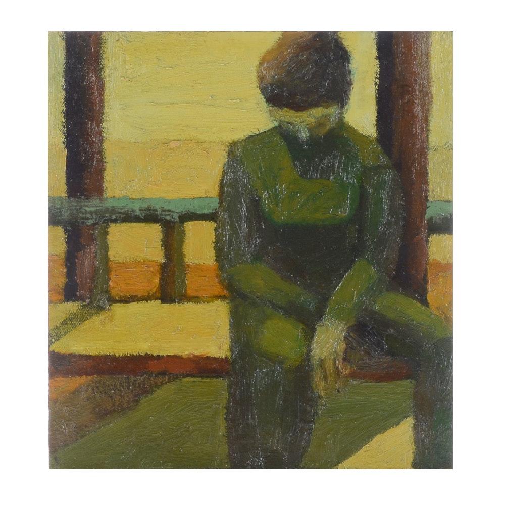 "Edgar Hatten Vintage Oil Painting on Board ""Girl on Terrace"""