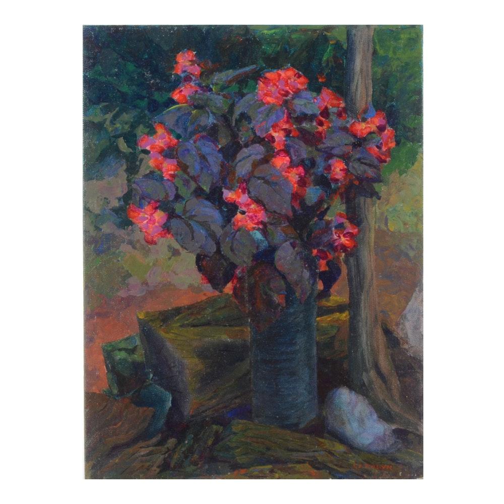 "Carolyn Zimmerman Vintage Acrylic Painting on Canvas Board ""Begonia in Garden"""