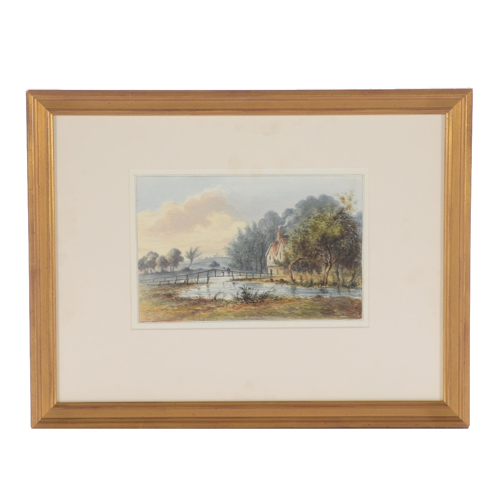 """Antique Watercolor """"Trout Fishing, England, 1816"""" Attributed to George Shepherd"""