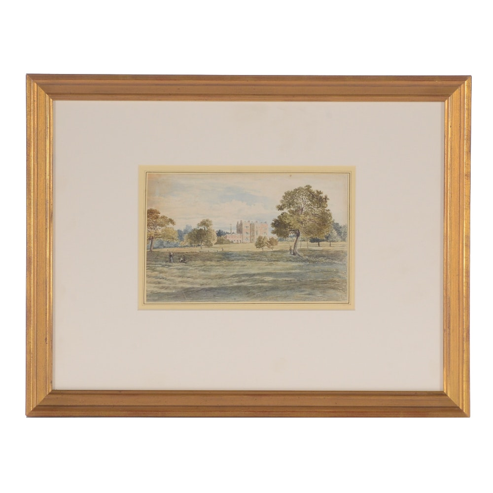 Antique Watercolor Painting on Paper Attributed to George Shepherd