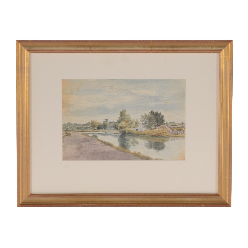 Antique George Shepherd Watercolor Painting on Paper of Pastoral Scene