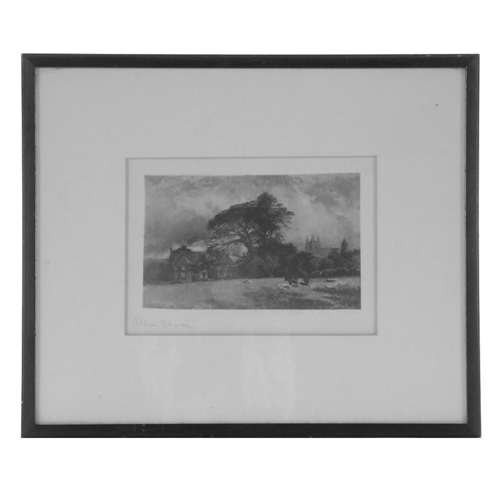"Antique Alfred Dawson Aquatint ""Rectory of Charles Kingsley Everslay, England"""
