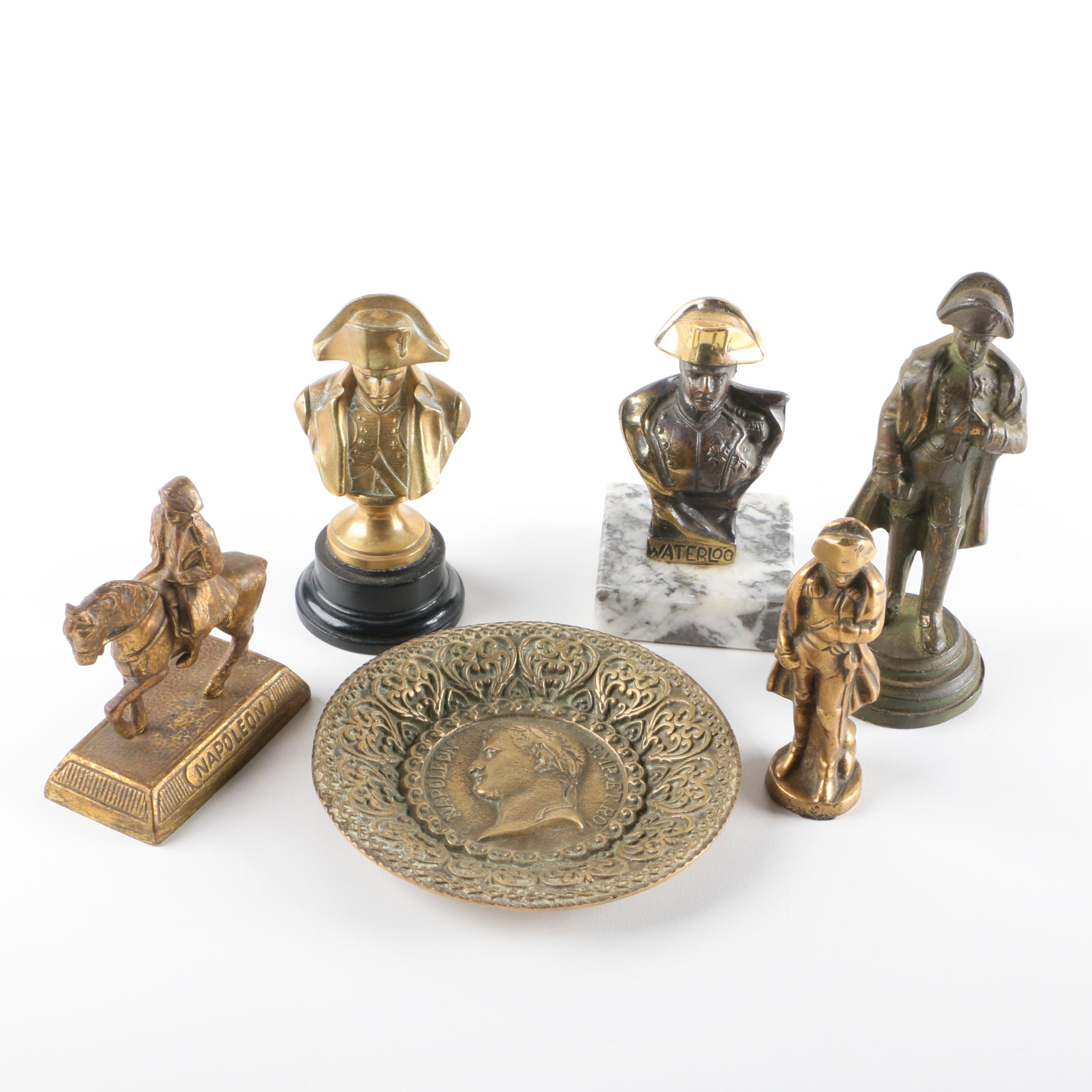Brass Napoleon Figurines and Decorative Bowl