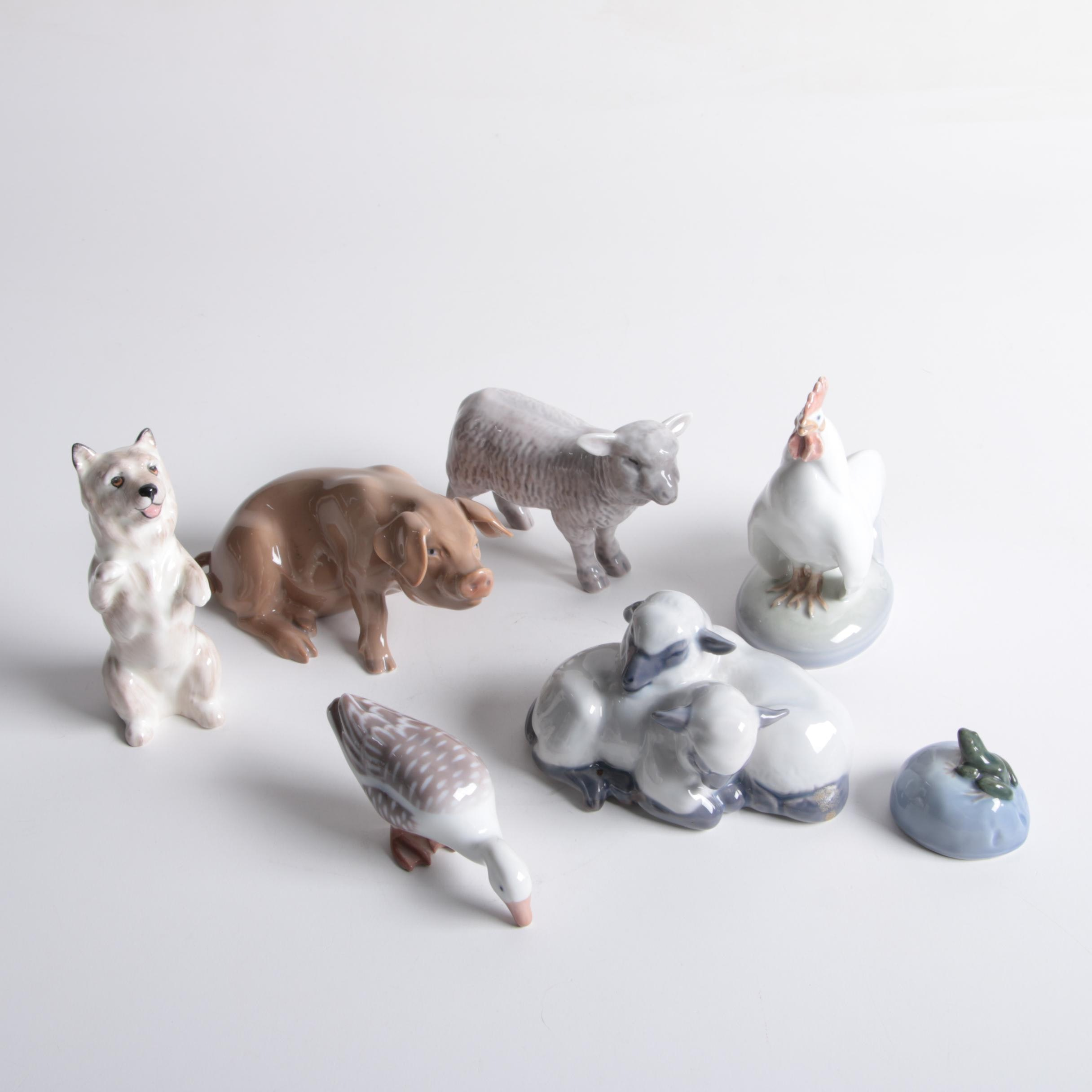Assortment of Royal Copenhagen and B&G Porcelain Animal Figurines