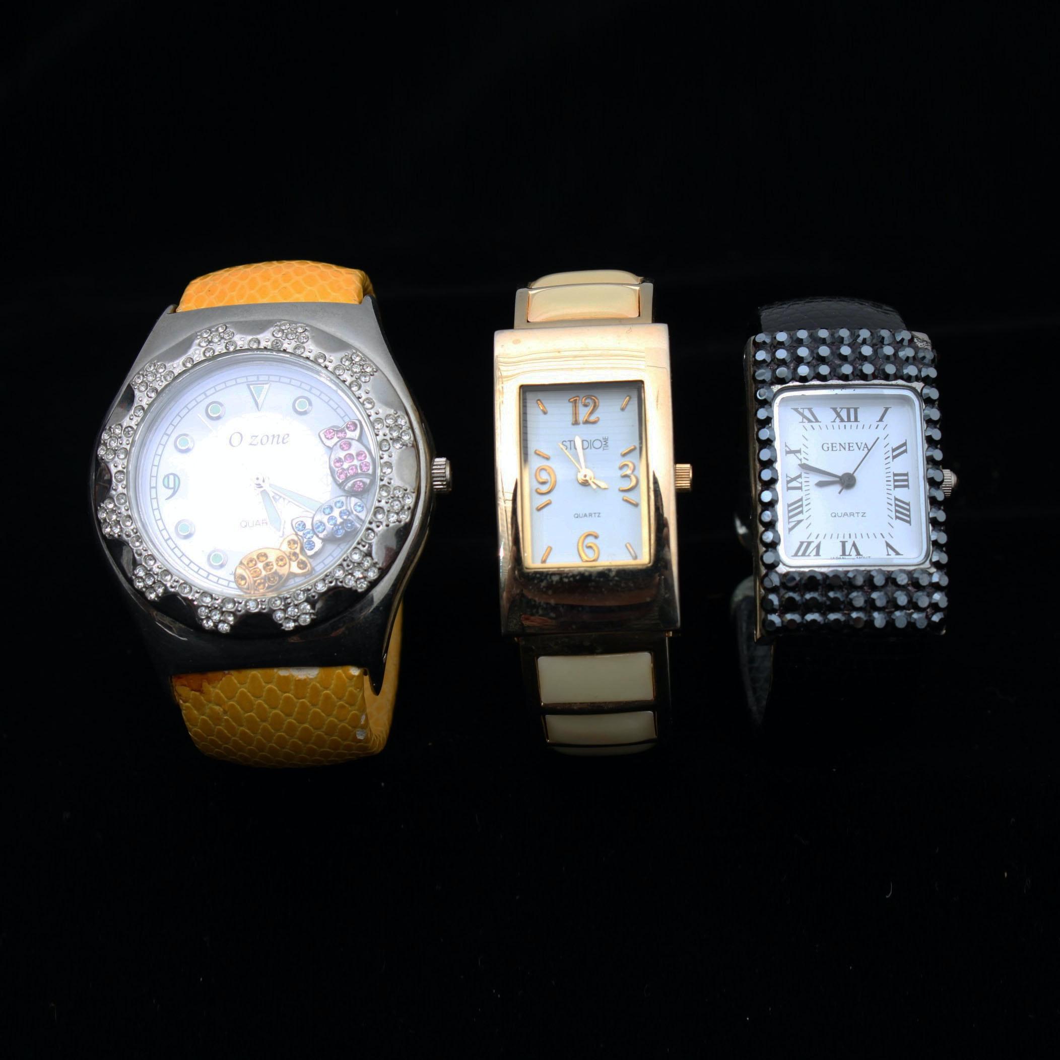 Three Fashion Cuff Style Wristwatches