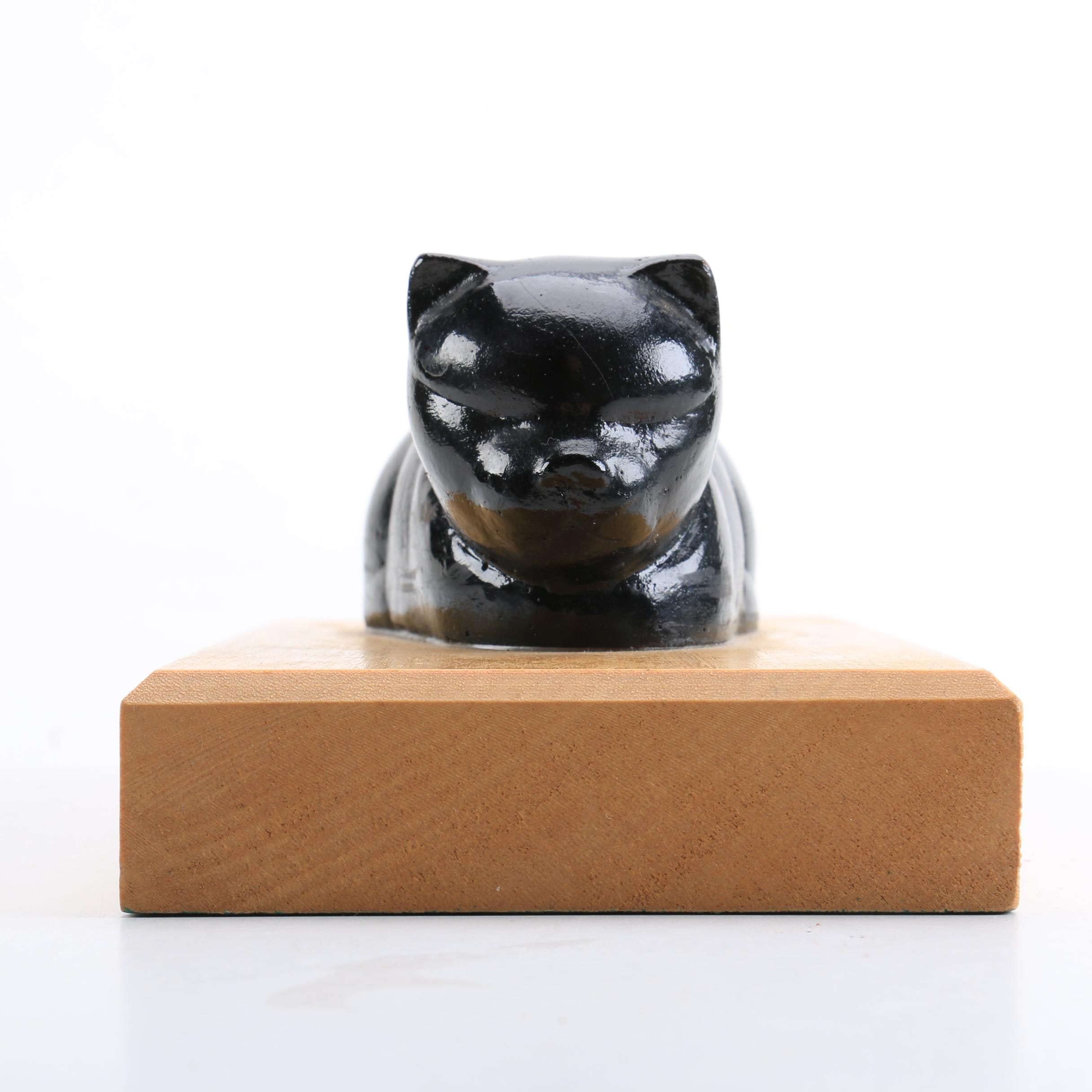Late 20th-Century Resin Sculpture of Black Cat After Beniamino Bufano