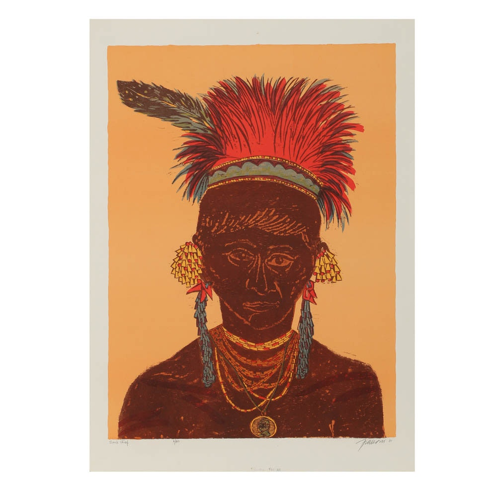 "Antonio Frasconi Woodblock Print ""Sauk Chief"""
