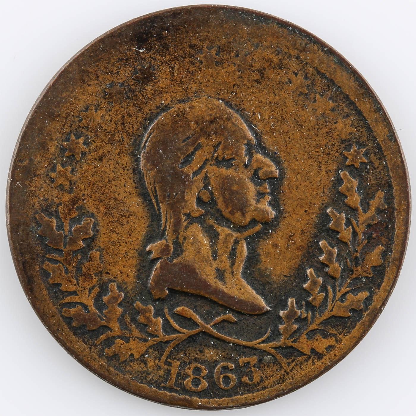 1863 Civil War Era Token Including George Washington Bust on Obverse