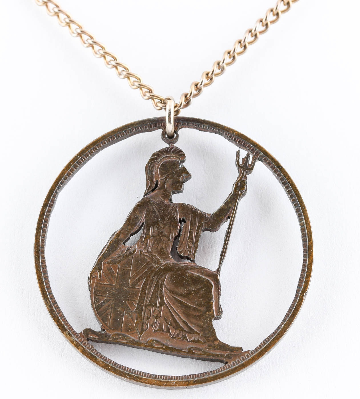 English Large Penny Cutout Pendant with Gold Tone Chain