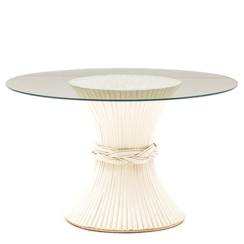 Glass Top Table with White Wheat Sheaf Bamboo Base by McGuire