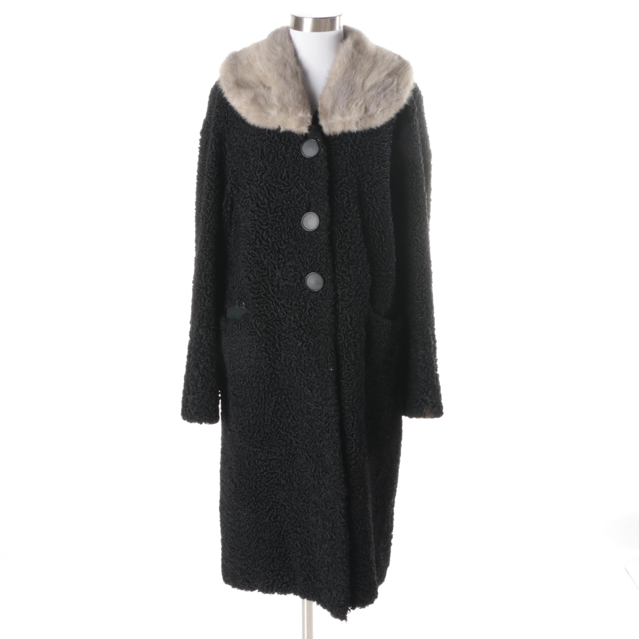 Women's Vintage Black Persian Lamb Coat with Mink Collar