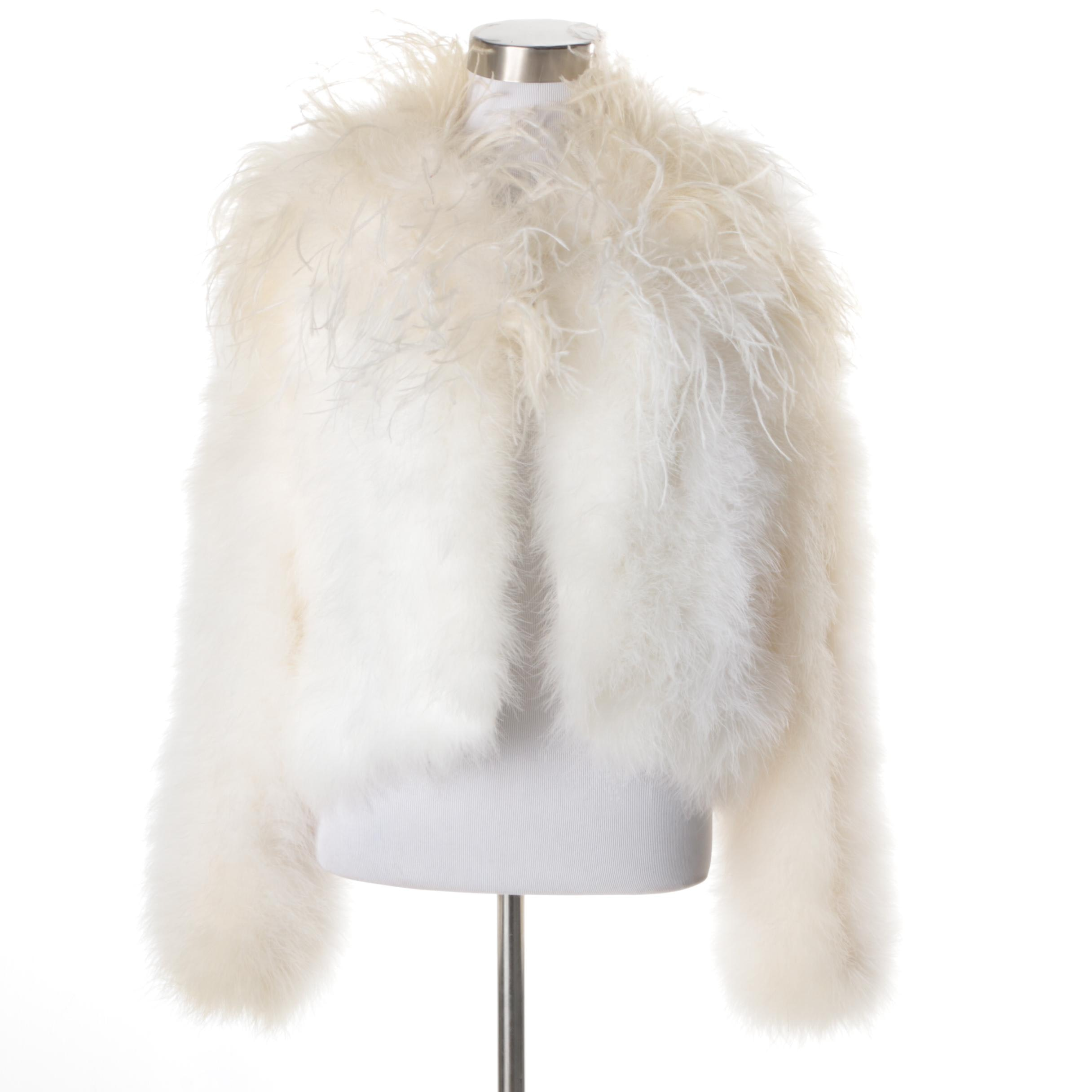 Ostrich Feather Crop Jacket