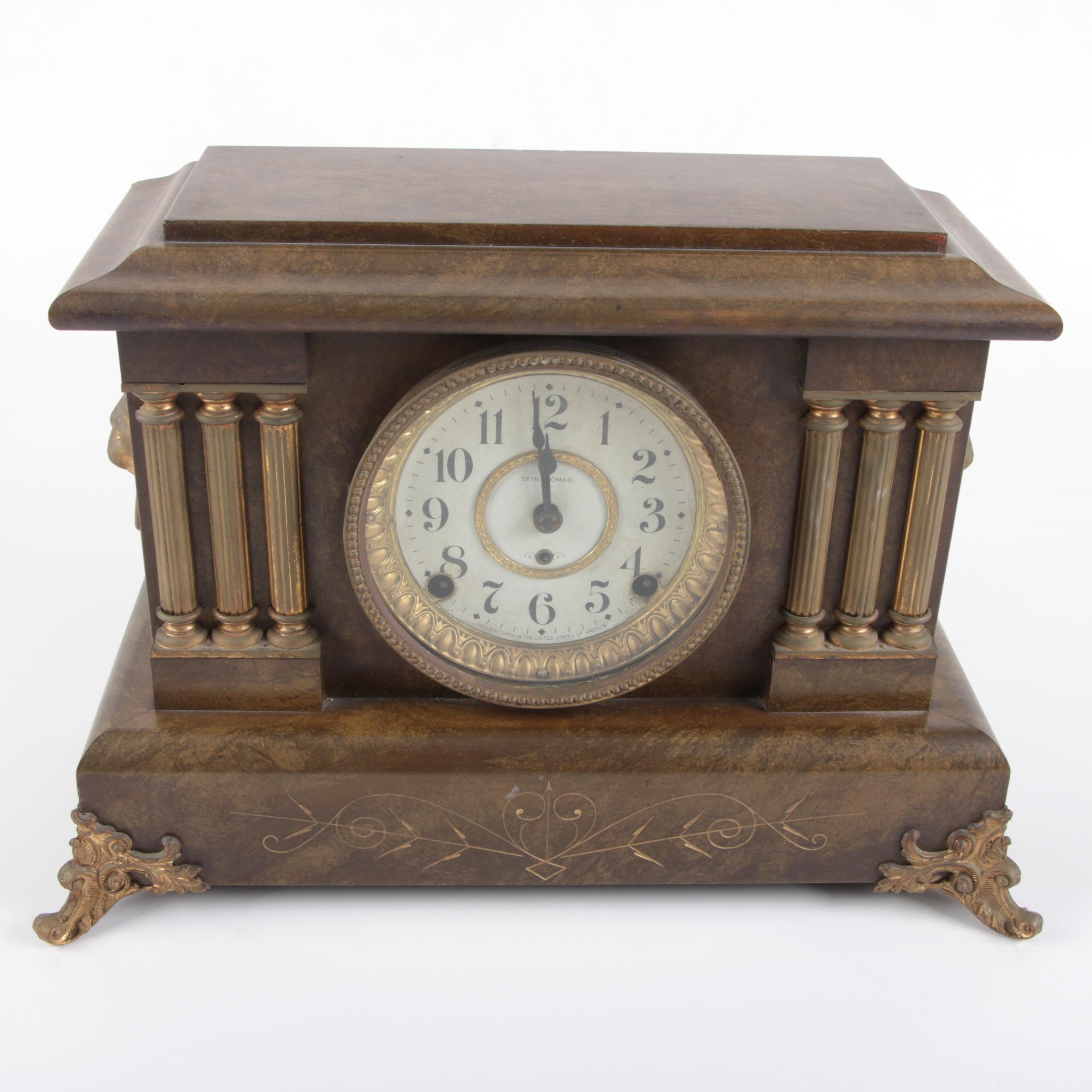 Vintage Seth Thomas Adamantine Pillar Style Mantel Clock
