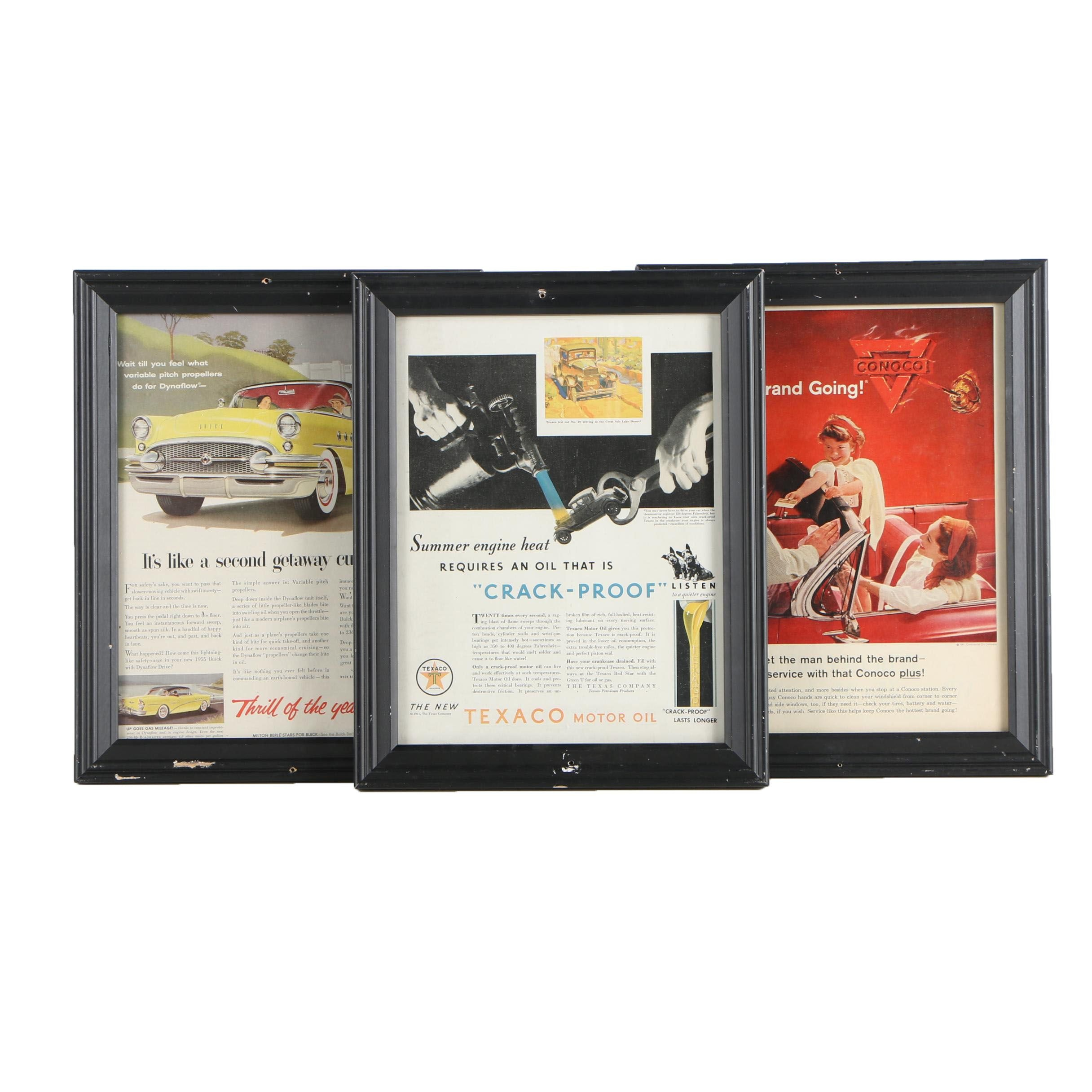 Three Offset Lithograph Magazine Advertisements for Mid Century Automobiles