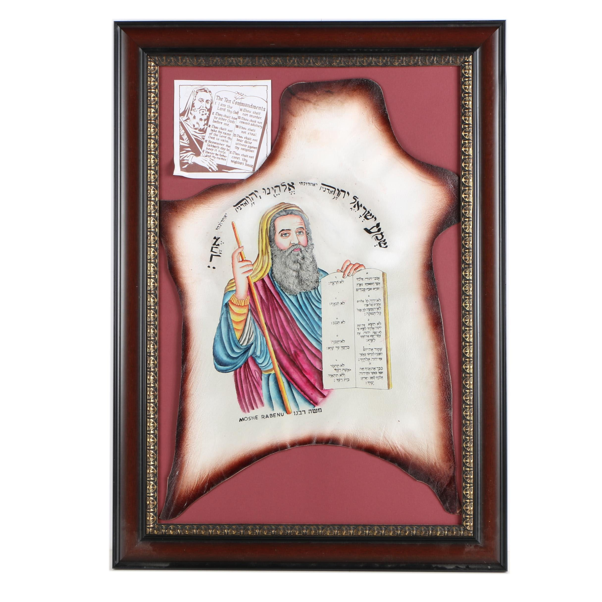 Watercolor Painting on Leather of Moses with the Ten Commandments