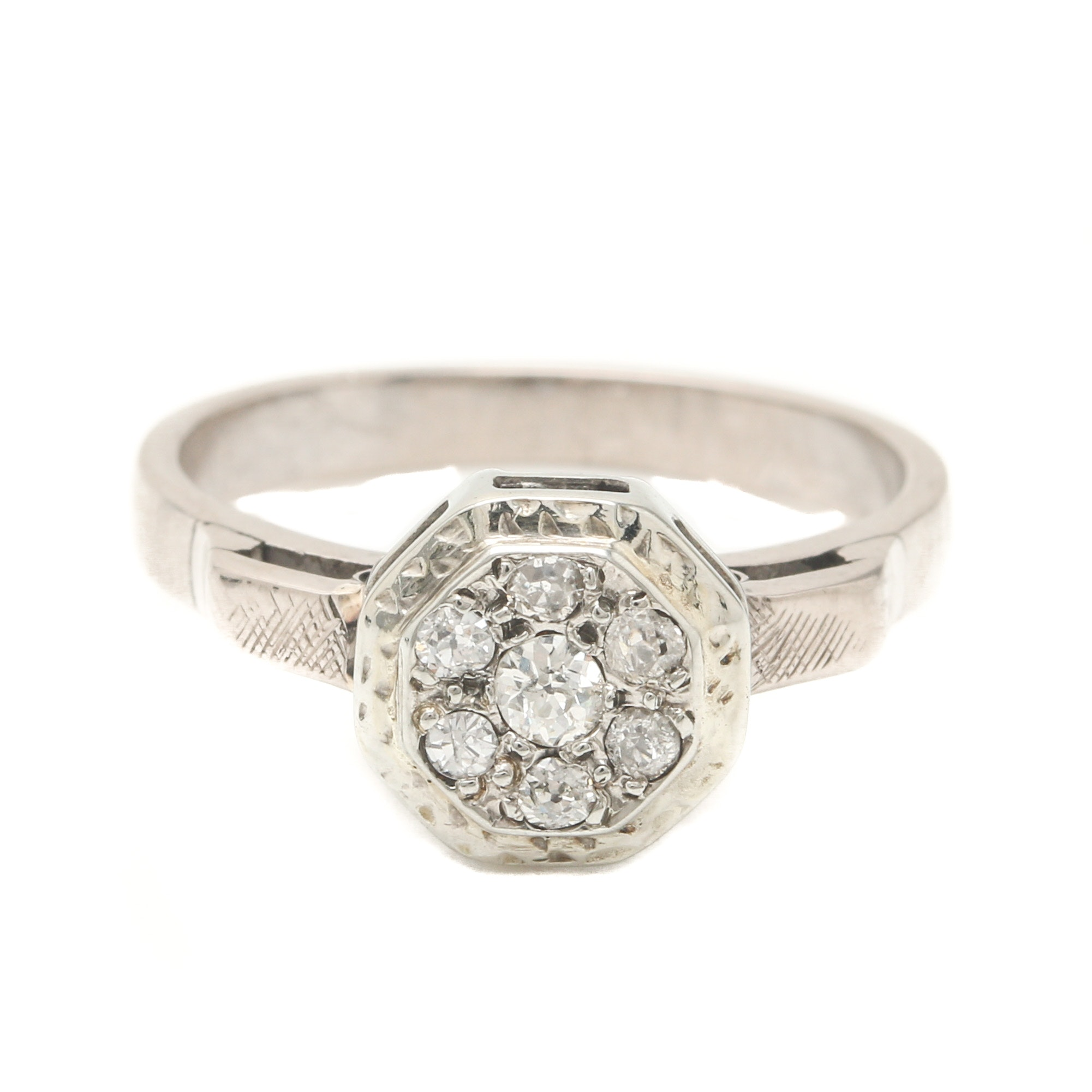 18K White Gold and Sterling Silver Palladium Alloy Diamond Ring