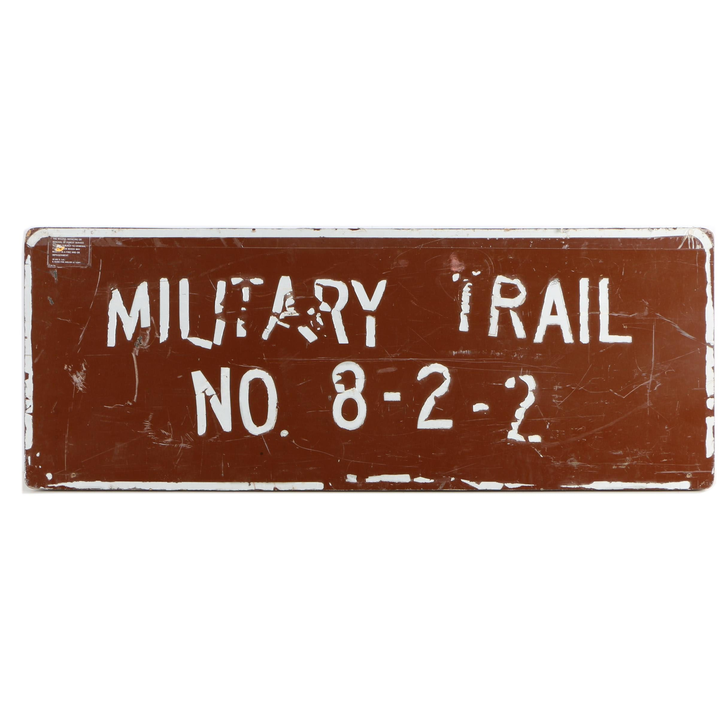 "Vintage ""Military Trail"" Sign"